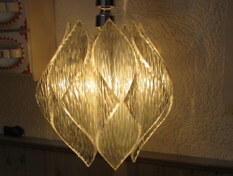 Verkocht: vintage jaren 70 hanglamp kunststof plastic