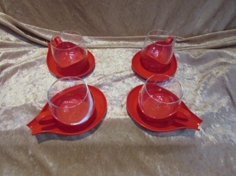 melitta theeglas kunststof onderzetter vintage jenaglas
