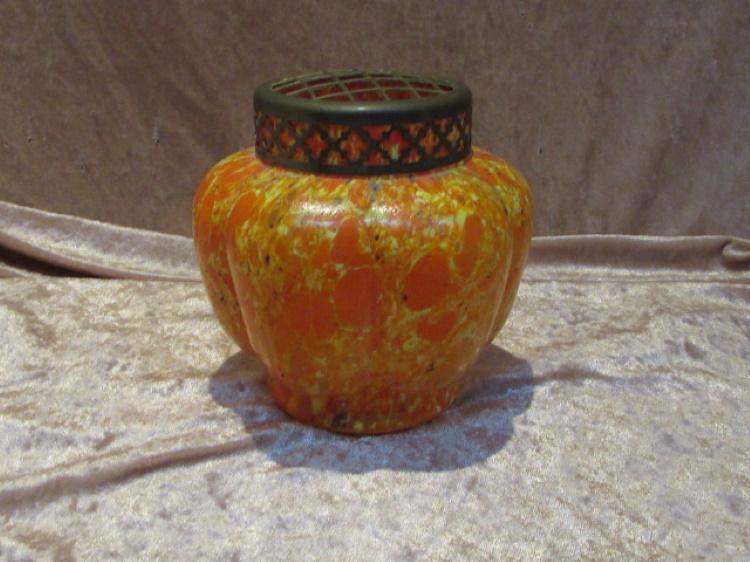 bloemensteker glas veelkleurig oranje geel