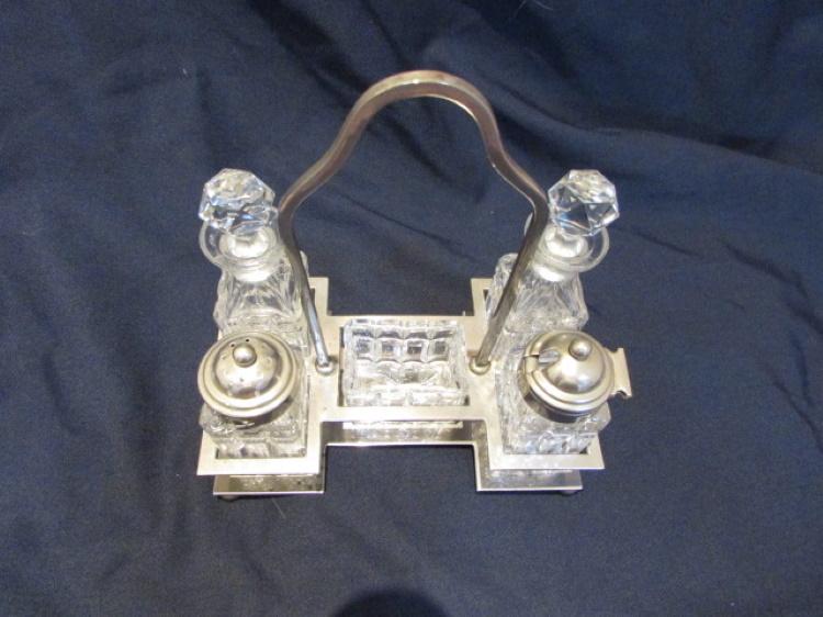 olie azijn peper zout mosterd metalen frame geslepen glas